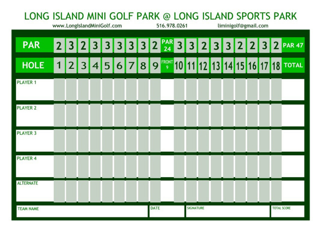 long island mini golf scorecard. Black Bedroom Furniture Sets. Home Design Ideas